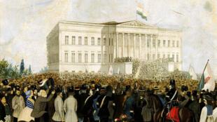 """Thi hào Sandor đọc """"Bài ca dân tộc"""" ngày 15/03/1848 tại Budapest. Tranh nghệ sĩ vô danh."""