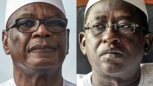 Candidatos à segunda volta da eleição presidente no Mali a 12 de Agosto 2018: Ibrahim Boubacar Keita (esq) e Soumaïla Cissé (dir)