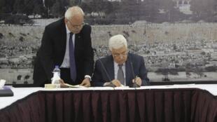 O presidente palestino, Mahmoud Abbas, assinou acordos internacionais entre estes o  incluindo o Estatuto de Roma do Tribunal Penal Internacional. 31/12/14