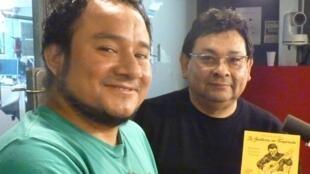 Rolando Carrasco y Antero Moreno en los estudios de RFI