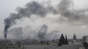 Smoke rises from the pipeline near Homs Wednesday