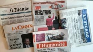 Primeiras páginas dos jornais franceses de 01 de junho de 2017