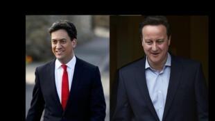 O trabalhista Ed Milliband (e) e o conservador David Cameron chegam a suas sessões eleitorais