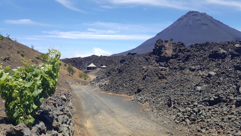 Sur la route de Portela. À droite, le volcan ; et au loin, une maison traditionnelle de l'île appelée Funco.