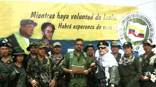 Video grab of Iván Márquez, former FARC commander, announcing that they will take up arms again.