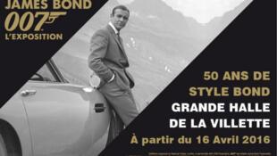 Poster of 'James Bond 007, the Exhibition'. 50 years of Bond style in Paris' La Villette.