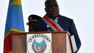 Rais wa DRC Felix Tshisekedi wakati akiapishwa kuwa rais January 24 2019 jijini Kinshasa.
