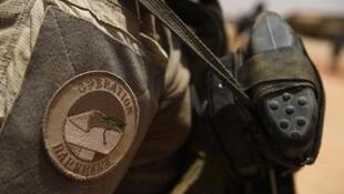 A close-up of France's Barkhane operation patch worn by French troops in Africa's Sahel region in Gao