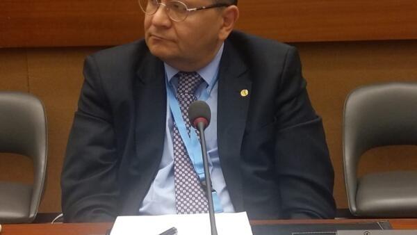 O representante da OAB, Hélio Leitão, durante evento na sede da ONU em Genebra.