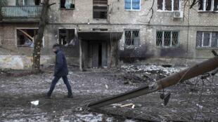 Debaltseve, ce 25 février. L'armée ukrainienne a perdu la ville depuis l'entrée en vigueur théorique de la trêve.