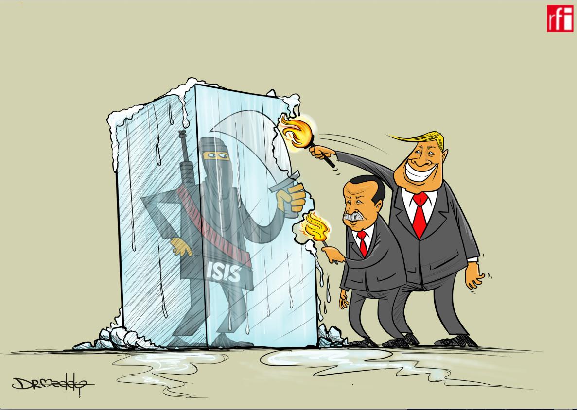 Shugaban Turkiya Recep Tayyip Erdogan da takwaransa na Amurka Donald Trump na barazanar maido da mayakan ISIS sakamakon rikicin arewacin Syria ( 17/10/2019).