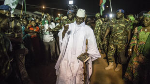Former Gambian president Yahya Jammeh, in a file photo from November 2016, one month before he lost the presidential election