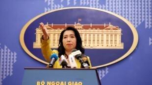 Phát ngôn viên bộ Ngoại Giao Việt Nam Lê Thị Thu Hằng. Ảnh họp báo ngày 25/07/2019.