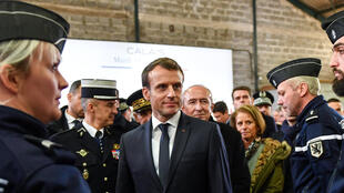 French President Emmanuel Macron meets gendarme and police forces during his visit centered on migrants in Calais, France, January 16, 2018.