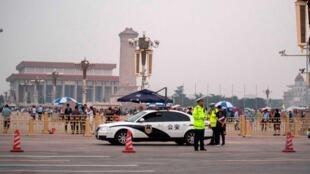 Place Tian'anmen, Pékin (Chine), ce mardi 4 juin 2019. Un important dispositif policier est déployé sur la place pour éviter les tentatives de commémoration des événements sanglants du 4 juin 1989.