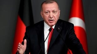 Turkish president Recep Tayyip Erdogan at a press conference in Istanbul, 24 January 2020.