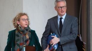 Le ministre de l'Économie Bruno Le Maire aux côtés de Muriel Pénicaud, la ministre du Travail, le 19 février 2020 à Paris.
