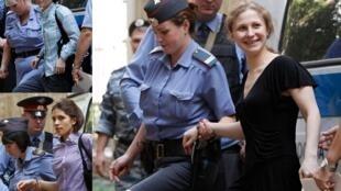 No alto à esquerda, Ekaterina Samutsevich; abaixo dela, a líder do grupo de punk rock russo Pussy Riot, Nadejda Tolokonnikova, e na foto grande, Maria Alekhina: o trio que ousou desafiar Putin chega ao tribunal, em Moscou, nesta segunda-feira.