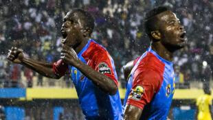 Les joueurs congolais fêtent leur victoire lors du CHAN 2016, sous une pluie battante le 7 février à Kigali.