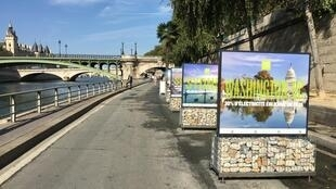 "The ""On road to Cop 22"" exhibition installed on the right bank of the Seine in Paris."