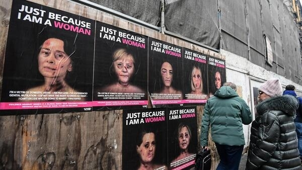 A campaign by Italian pop artist AleXsandro Palombo shows high-profile political figures as victims of gender violence.