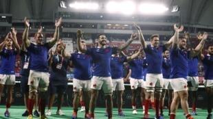 Le XV de France après sa victoire face aux Tonga en Coupe du monde, le 6 octobre 2019