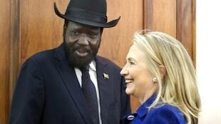 US State secretary Hillary Clinton and South Sudan president Salva Kirr, 3 August 2012