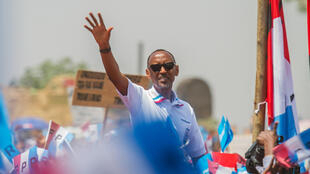 Rwandan President Paul Kagame of the ruling Rwandan Patriotic Front (RPF) at his final campaign rally in Kigali on 2 August 2017.