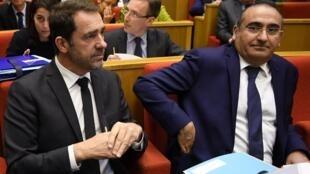 法國內政部長卡斯塔內( Christophe Castaner) (左) 在法國參議院作證,2019年3月19日