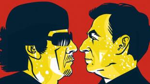 Couverture de la bande dessinée «Sarkozy Kadhafi des billets et des bombes», parue aux éditions Delcourt.