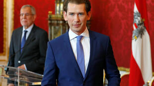 Eye of the storm: Austrian Chancellor Sebastian Kurz with the president, Alexander Van der Bellen, in the background.
