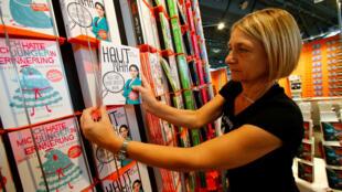 Um estande da feira de livros em Frankfurt, a maior feira de livros do mundo que vai de 11 de outubro a 15 de outubro e apresenta a literatura da França como convidada de honra, em Frankfurt, Alemanha, outubro 10, 2017.
