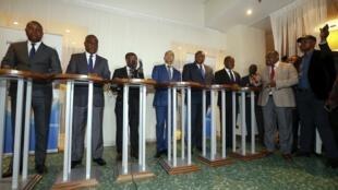 Les leaders de la coalition d'opposition Lamuka lors d'une conférence de presse à Bruxelles, en mars 2019.
