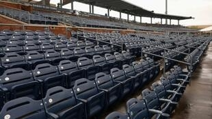 Empty seats such as these at an Arizona pre-season training baseball stadium will remain the norm in US sports leagues until the coronavirus pandemic is solved