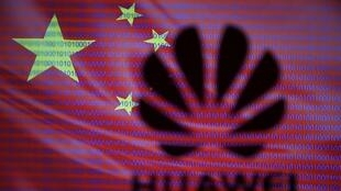 Huawei logo is seen in front of displayed flag of China and cyber code in this illustration, taken February 12, 2019.