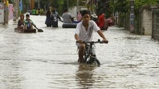 A flooded street in Ayutthaya province