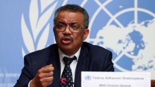 Tổng giám đốc Tổ Chức Y Tế Thế Giới Tedros Adhanom Ghebreyesus họp báo về tình hình virus corona, tại trụ sở WHO, Genève, Thụy Sĩ  ngày 29/01/2020.