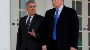 Presidentes colombiano, Iván Duque e americano, Donald Trump na Casa Branca a 13 de fevereiro de  2019.