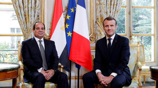 French President Emmanuel Macron meets Egyptian President Abdel Fattah al-Sisi at the Elysee Palace, in Paris, France, October 24, 2017.