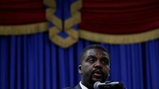 Le Premier ministre haïtien Fritz William Michel, lors de la présentation de ses projets politiques au Parlement à Port-au-Prince, à Haïti, le 3 septembre 2019.
