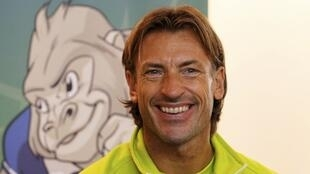 Zambia's head coach Hervé Renard of France addresses a news conference in Gabon's capital Libreville 11 February 2012
