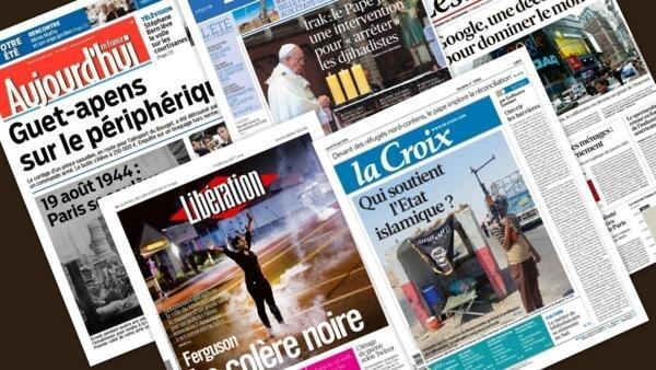 Capa dos jornais franceses Aujourd'hui en France, Libération, Les Echos, Le Figaro, La Croix desta terça-feira, 19 de agosto de 2014.