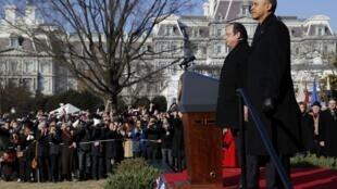 Ceremonia en honor de François Hollande en los jardines de la Casa Blanca, el 11 de febrero de 2014.