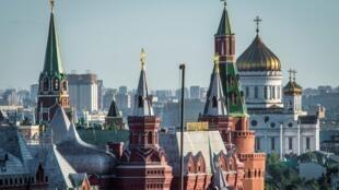 Une vue générale de Moscou montre le kremlin, le musée d'histoire et la cathédrale du christ sauveur. (Photo d'illustration)