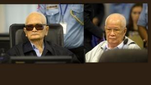 O Tribunal Internacional do Camboja condenou, esta quinta-feira, à prisão perpétua dois ex-líderes dos Khmer Vermelhos, Khieu Samphan (direita) e Nuon Chea, por crimes contra a humanidade.