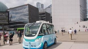 A self-driving electric vehicle developed by French company Navya