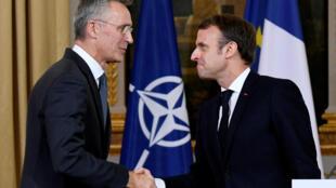 អគ្គលេខាធិការអង្គការអូតង់លោក Jens Stoltenberg មកជួបប្រធានាធិបតីបារាំង លោកEmmanuel Macron នៅទីក្រុងប៉ារីស នៅថ្ងៃទី ២៨វិច្ឆិកា២០១៩