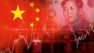 圖為網絡報導中國股市的配圖