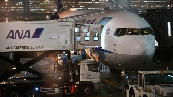 Un avion charter affrété pour rapatrier des ressortissants japonais, à l'aéroport de Tokyo, le 28 janvier 2020.
