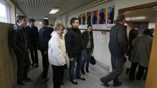 Voters in Reykjavik on Saturday